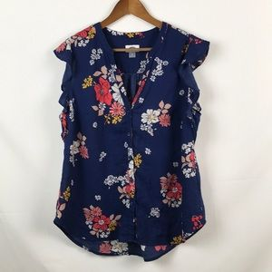OLD NAVY Ruffle Short Sleeve Button Front Blouse